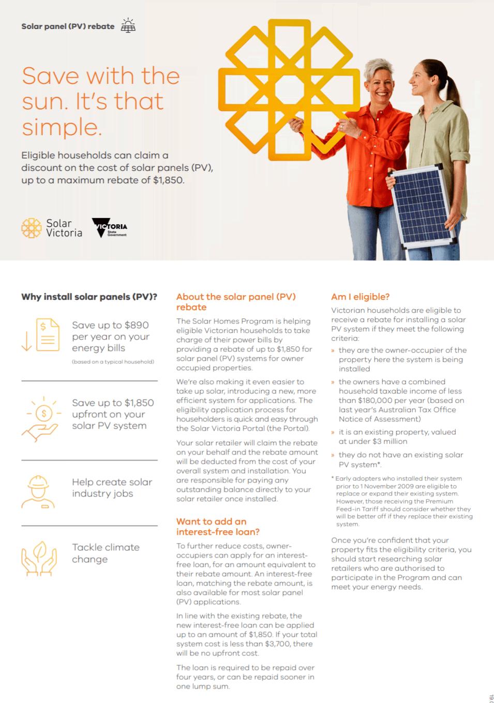 Solar Homes Fact Sheet Homes Pv Rebate